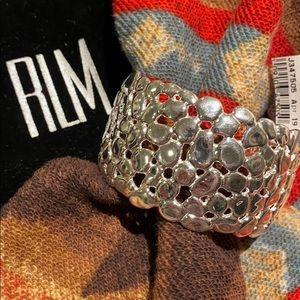 RLM White Bronze Pebble Design Cuff Bracelet NWT